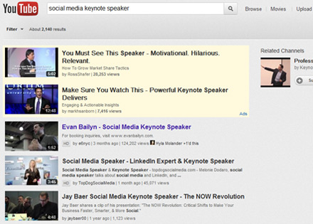 Social media keynote speaker search on Youtube