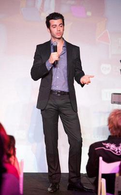 Evan Bailyn delivering keynote speech at Women Rock It 2011